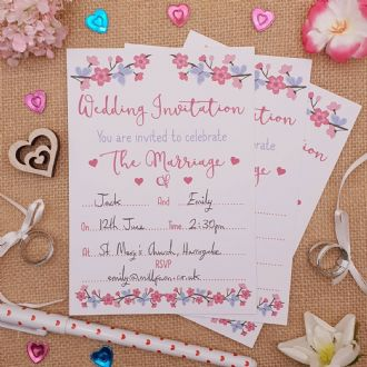 Wedding Invitations & Envelopes - 1 Pack Of 8 - Summer Blossom Collection